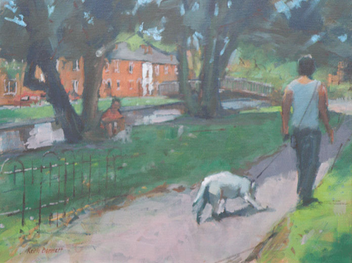 Dog walkers, Water Lane, Winchester